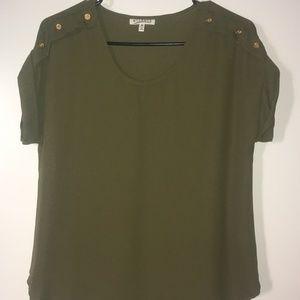 Women's Dark Green Blouse - Size M Brand Mileage